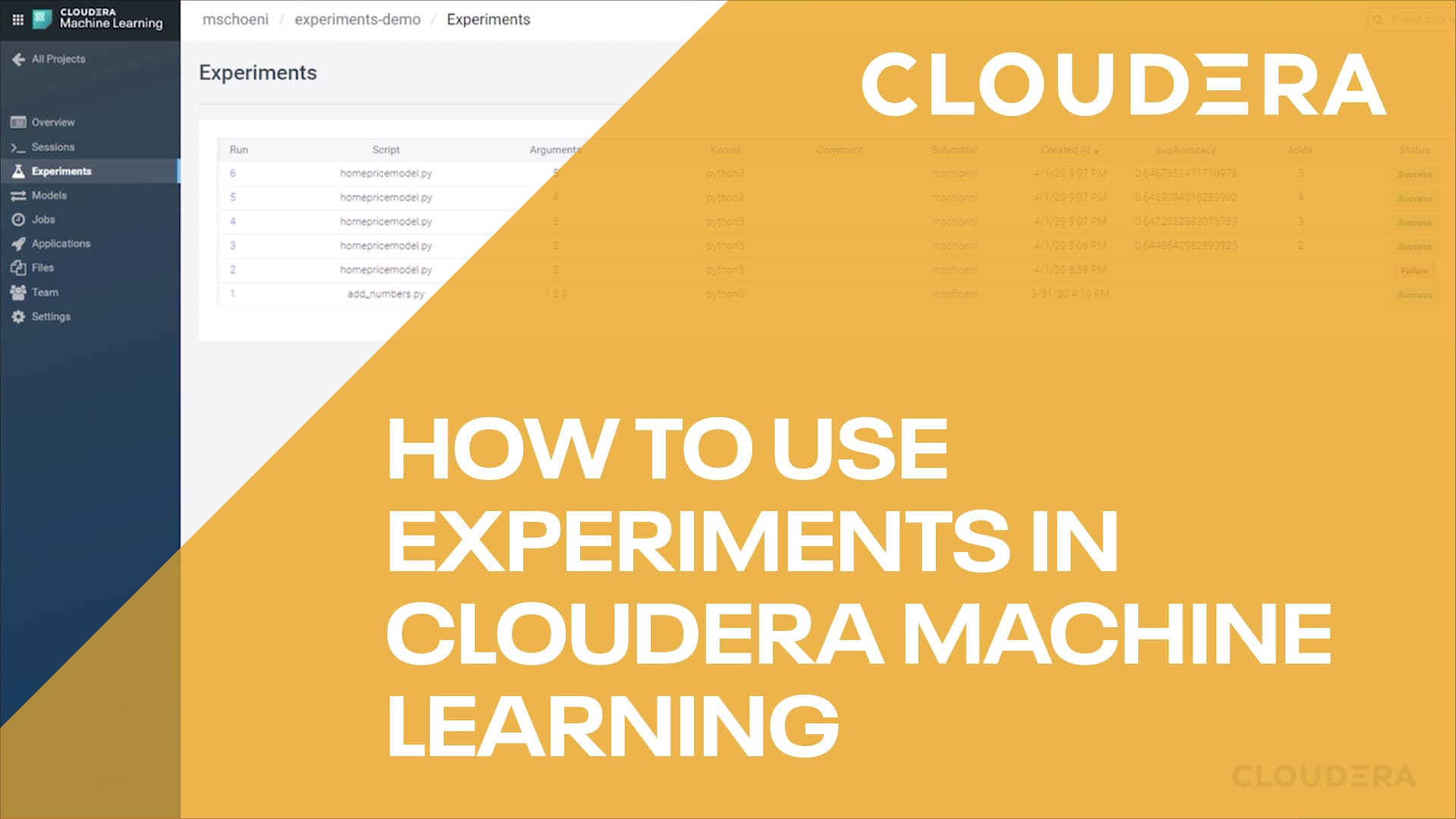 How to use Experiments in Cloudera Machine Learning